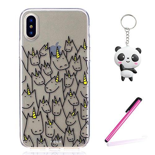 iPhone X Hülle Nettes Einhorn Premium Handy Tasche Schutz Transparent Schale Für Apple iPhone X / iPhone 10 (2017) 5.8 Zoll + Zwei Geschenk
