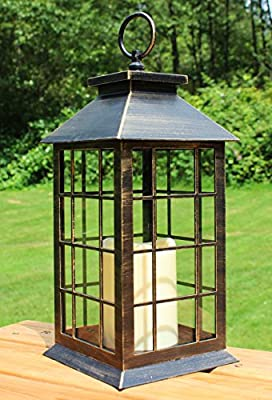 Seraphic Country Style Rustic Metal Lanterns with Flickering Flameless LED Candle