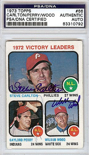 Steve Carlton & Gaylord Perry & Wilbur Wood Signed 1973 Topps Trading Card - Certified Genuine Autograph By PSA/DNA - Autographed Baseball Card (Carlton Steve Baseball Signed)