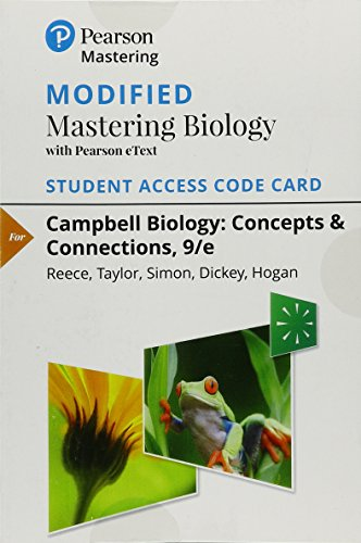 Modified Mastering Biology with Pearson eText -- Standalone Access Card -- for Campbell Biology: Concepts & Connections (9th Edition)