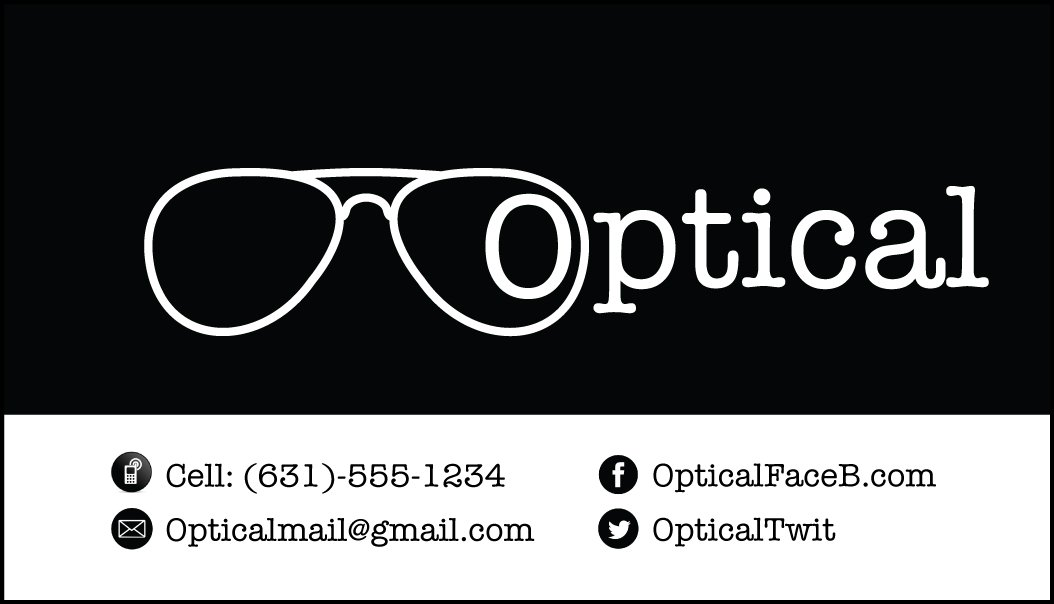 Black Optical Business Card, 500 Elegant Professional White Stock