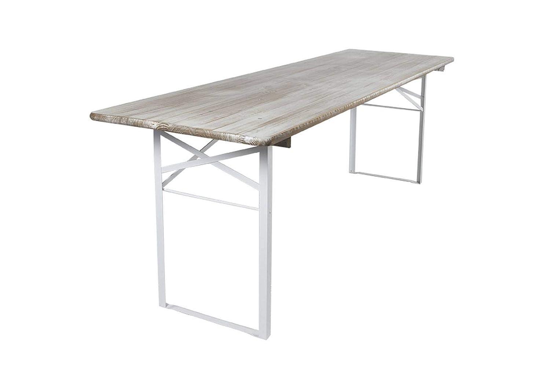 MaximaVida klappbarer Picknicktisch, Biertisch, Scandinavian Whitewash, 200 x 70 cm FSC Gütezeiche