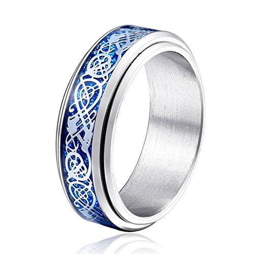 JAJAFOOK Men's Silver Plated Titanium Steel Ring Blue Celtic Dragon Carbon Fibre Spinner Wedding Band