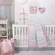 Ellie Pretty Patch Pink Elephant Crib Bedding - 11 Piece Sleep Essentials Set