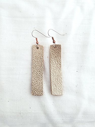Rose Gold Metallic/Leather Earrings/FREE SHIPPING/Joanna Gaines/Lightweight/Minimal/Simple Bar/Medium/2x.5/Hypoallergenic