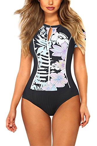 (Viottis Women's Zip-up Short Sleeve Pad One-Piece Swimsuit Rash Guard M Blue)