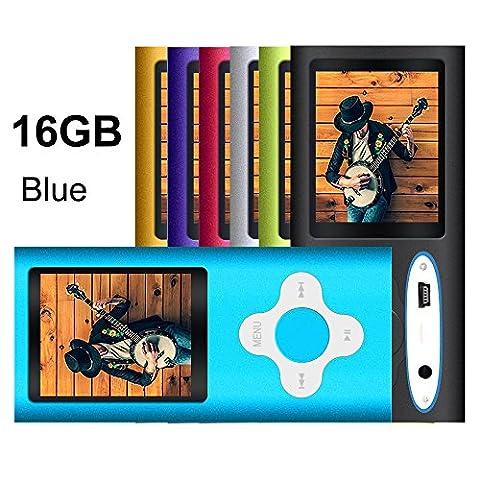 G.G.Martinsen Blue 16GB Versatile MP3/MP4 Player with Photo Viewer, FM Radio and Voice Recorder, Mini Usb Port Slim 1.78 LCD, Digital MP3 Player, MP4 Player, Video Player, Music Player, Media (MP3 & Media Players)