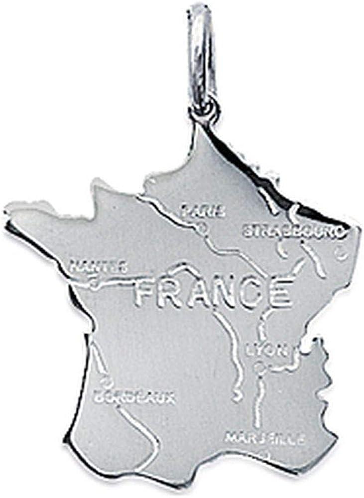 Pendentif en Argent Massif 925//1000 Carte de la France Obrillant-Bijoux