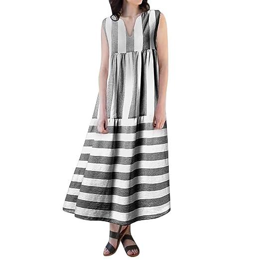 a017277e5d08 Amazon.com: Women Summer Stripe Sleeveless V-Neck Cotton Linen Plus Size  Kaftan Dress Boho Loose Baggy Swing Casual Long Maxi Dress: Clothing