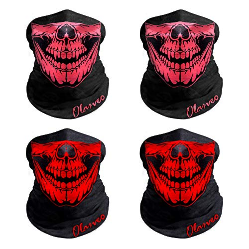 Breathable Seamless Tube Skull Face Mask half with Shade, Dust-proof Windproof Motorcycle Bicycle Bike Face Mask for Hiking Camping Climbing Fishing Hunting Motorcycling Headband Scarf Neckwarmer -