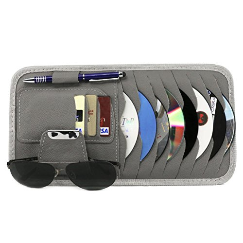 Vulcan-x CD Sun Visor Organizer Detachable Portable PU Leather with 8 CD Slots + 3 Credit Cards Pockets + 1 Sunglasses Holder + 1 Pen holder-Grey (Sunglasses Friday)