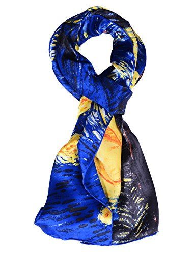 Salutto Women 100% Silk Scarves Van Gogh Painted Starry Night Scarf (Silk Scarf Painted)