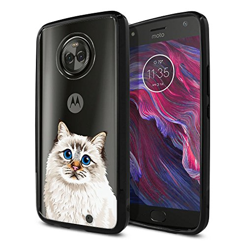 FINCIBO Case Compatible with Motorola Moto X4 / Moto X 4th Gen 2017 5.2 inch, Slim Shock Absorbing TPU Bumper + Clear Hard Protective Case Cover for Moto X4 - Cute Seal Lilac Tabby Point Birman Cat