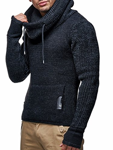 Leif Nelson Men's Knitted Pullover | Long-sleeved slim fit shirt | Basic longsleeve sweatshirt with shawl collar for Men ()