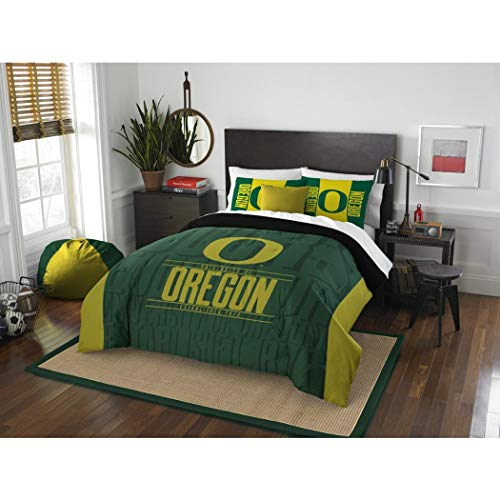 3pc NCAA University Oregon Ducks Comforter Full Queen Set, Y