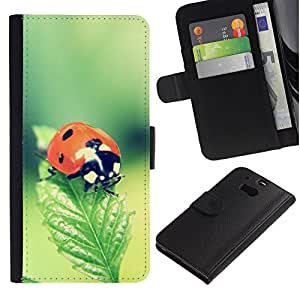 All Phone Most Case / Oferta Especial Cáscara Funda de cuero Monedero Cubierta de proteccion Caso / Wallet Case for HTC One M8 // The Ladybug