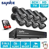 SANNCE 8CH 1080P Lite 5-in-1 TVI DVR Recorder with 3TB Hard Drive and 8xHD TVI 1500TVL Home Security Camera, 66FT Night Vision, IP66 Weatherproof Durable Housing, Email Alert