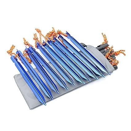 azul ideales para ir de camping o para la playa con cuerda G2plus Piquetas 10 piezas