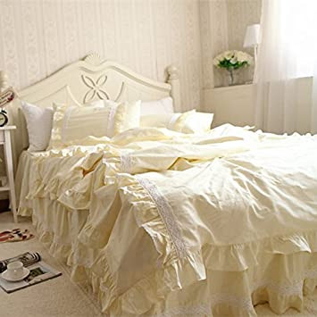Swanlake Shabby And Vintage Style Lace With Ruffle Bed Skirt Duvet Cover Bedding Set 1409