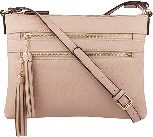 B BRENTANO Vegan Multi-Zipper Crossbody Handbag Purse with Tassel Accents (Pink.)