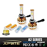 Xprite A2 Series CREE COB LED Headlight Conversion Kit for Cars and Trucks with 3000K Amber, 6000K White, 10000K Blue Sleeves - 60W 6400lm - 880 881