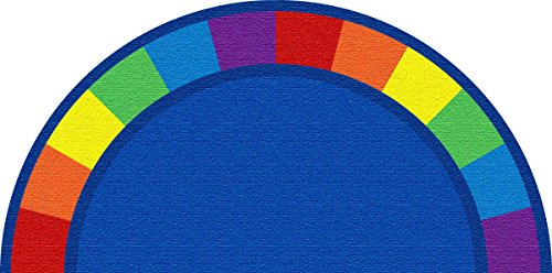 Kid Carpet FE82143A Colors Semicircle Nylon Area Rug, 12' x 6', Multicolored