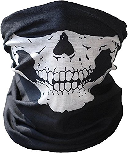 Men Motorcycle Face Masks Seamless Skull Print for Outdoor Mask Sport Headwear, Black