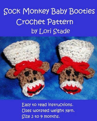 Crochet Sock Monkey Pattern - Sock Monkey Baby Booties Crochet Pattern