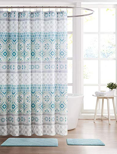 (Hudson & Essex All American Collection 15-Piece Oversized Bathroom Set with 2 Memory Foam Bath Mats and Matching Shower Curtain | Designer Patterns and Colors (Odessa Teal))