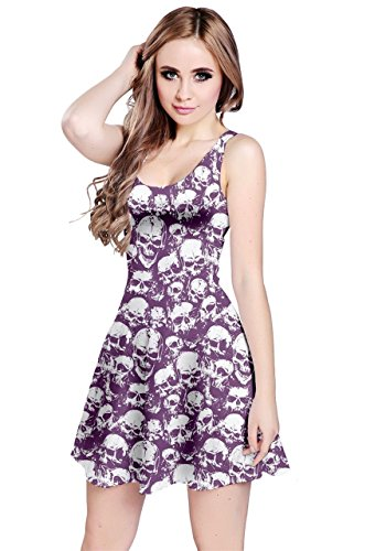 CowCow Womens Purple Grunge Pattern with Skulls Illustration Sleeveless Skater Dress, Purple - XL -