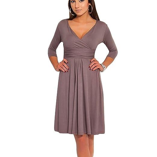 f14b6e0e2b98 Vobaga Women s Knee Length 3 4 Sleeve Jersey Skater Dress Coffee M ...
