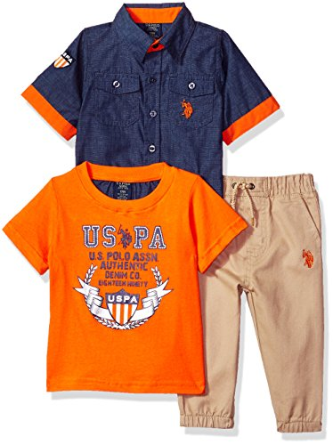 U.S. Polo Assn. Baby Boys Short Sleeve, T-Shirt and Pant Set, USPA Logo Multi Plaid, 6-9 Months