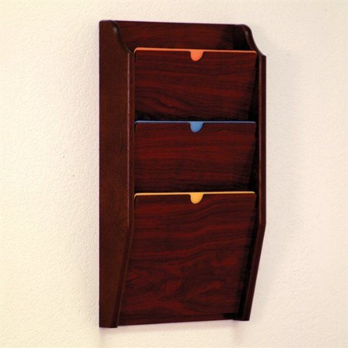 Wooden Mallet PCH24-3 Dark Red Mahogany 3-Pocket HIPAA Compliant Wall Mounted Privacy File / Chart Holder