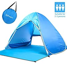 Ephram Pop Up Beach Tent, 2-3 Person UV Protection Waterproof Portable Folding Automatic Instant Setup Beach Shade Sun Shelter Anti UV Pop Up Tents 3 Seasons Lightweight Family Hiking Backpacking Fishing Camping Tent Ultralight Outdoor Beach Canopy Cabana Shelter Tents with Carrying Bag