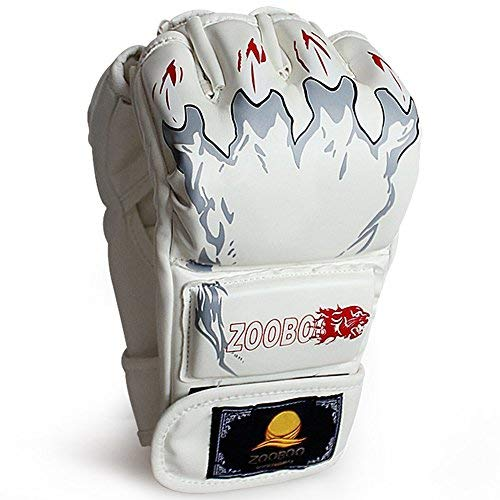 ZooBoo Punching Gloves, Half-Finger Boxing Gloves MMA Mitts with Wrist Band for Sanda Kickboxing Sparring Bag Training (One Size Fits Most) [並行輸入品] B07T658YV7