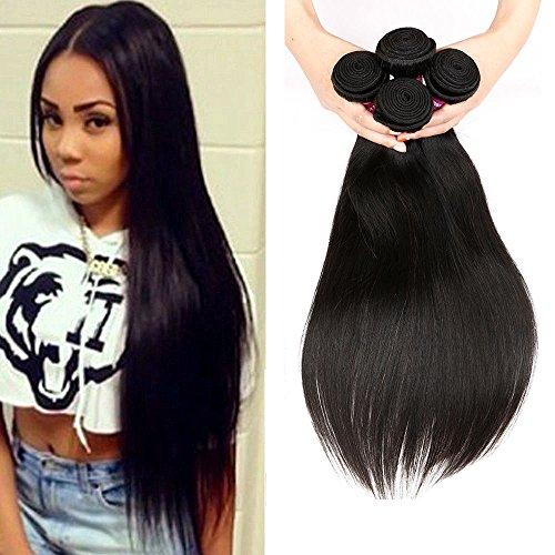 Women's 1 Bundle Raw Unprocessed 100% Human Hair 1 B Brazilian Virgin Hair Natural Straight Hair Weave Extensions for Black Women (20 inch)