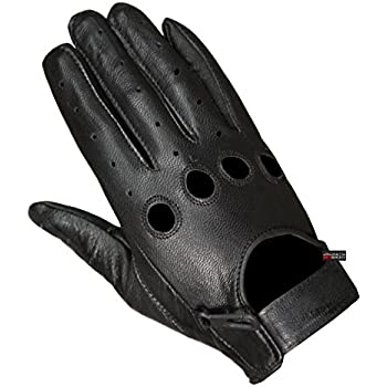 New Biker Police Leather Motorcycle Riding Ventilation Driving Gloves Black L