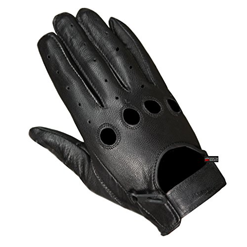 New Biker Police Leather Motorcycle Riding Ventilation Driving Gloves Black L - Black Leather Riding Gloves