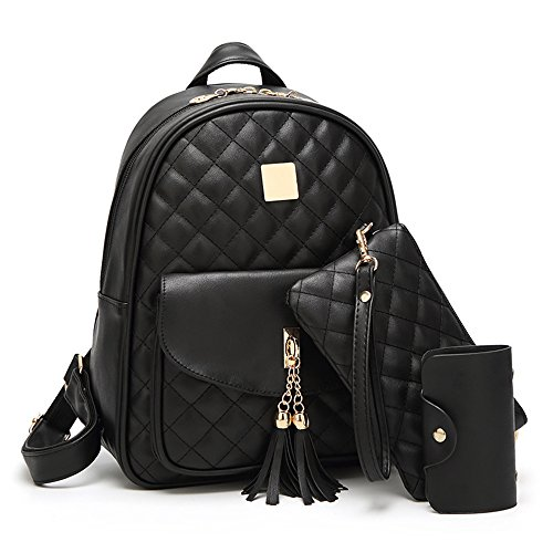 (Women's Simple Design Fashion Quilted Casual Backpack Leather Backpack for Women )
