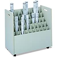 Safco 3083 Laminate Mobile Roll Files, 50 Compartments, 30-1/4w x 15-3/4d x 29-1/4h, Putty