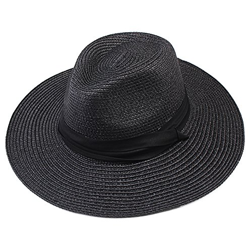 FURTALK Summer Panama Straw Fedora Hat Wide Brim Beach Sun Hat with Neck (Black Panama Straw Hat)