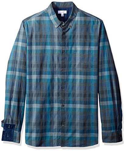 Calvin Klein Men's Long Sleeve Button Down Shirt Heather Square Check