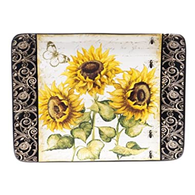 Certified International French Sunflowers Rectangular Platter, 16 by 12-Inch