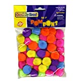 Chenille Kraft Creativity Street Pom Pons 50-Piece X 1-Inch Hot Assorted Colors