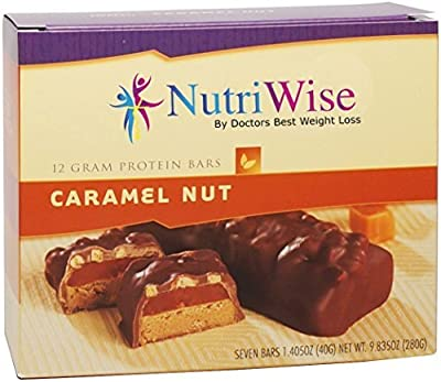 NutriWise - High Protein Diet Bar (7 per box), Gluten Free (Caramel Nut)