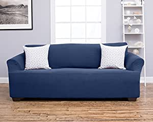 Amalio Collection Deluxe Strapless Slipcover. Form Fit, Slip Resistant, Stylish Furniture Shield / Protector Featuring Plush, Heavyweight Fabric. By Home Fashion Designs Brand. (Sofa, Blue)