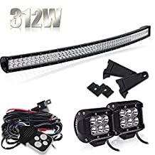 54 inch 312w Curved Spot Flood Combo Beam Led Work Light Bar with 3Lead Remote Control Wiring Harness Kit&4 inch Led Work Lights For Chevrolet Dodge Ford GMC Jeep Toyota Ranger ATV UTV