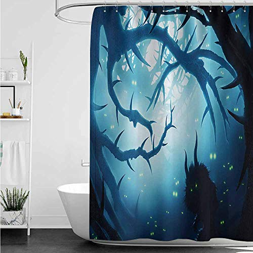 home1love Polyester Fabric Shower Curtain,Mystic Animal with Burning