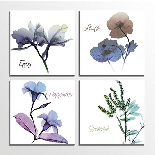 HLJ Art Colorful Elegant Floral Flowers 4 Panels Modern Giclee Canvas Prints Wall Art for Home Décor 12x12inch