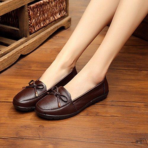 Giy Donna Casual Nappe Mocassini Mocassini Appartamenti Comfort Slip-on Classic Dress Bow Penny Scarpe Mocassini Marrone
